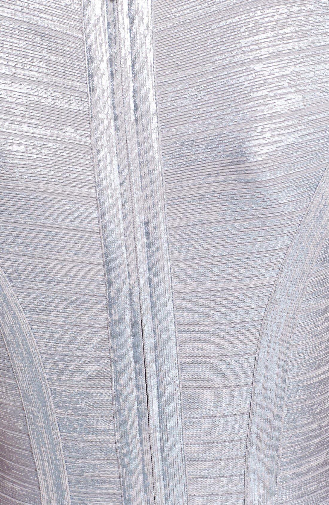 Alternate Image 3  - Herve Leger 'Klaudia' Woodgrain Metallic Foil Dress