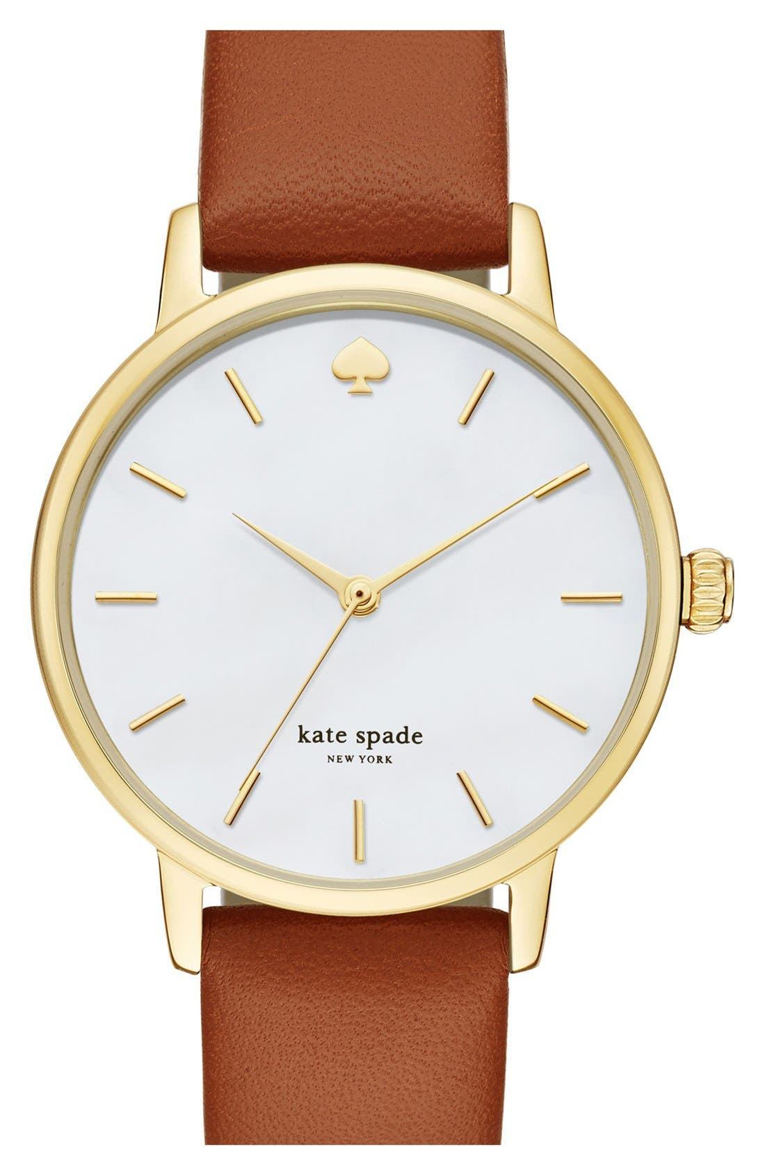 'metro' round leather strap watch, 34mm,                         Main,                         color, Brown/ Mother Of Pearl