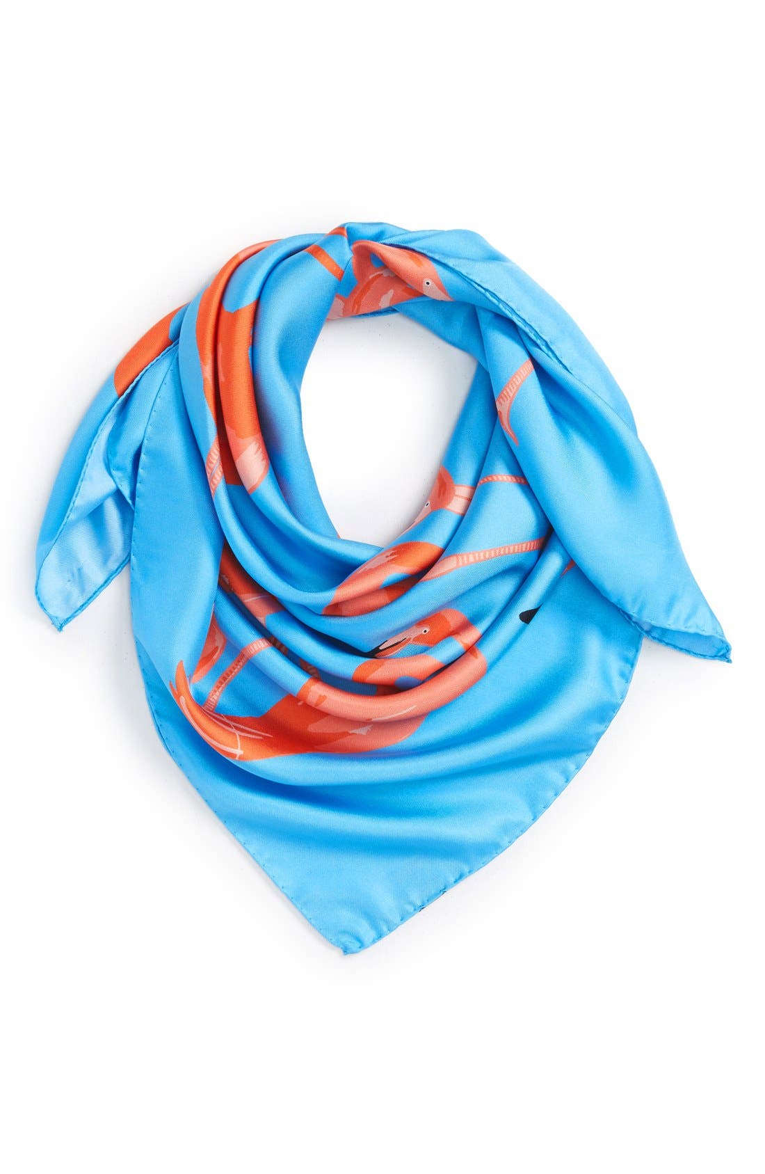 'Flamingo Flock' Silk Scarf,                         Main,                         color, Pale Blue