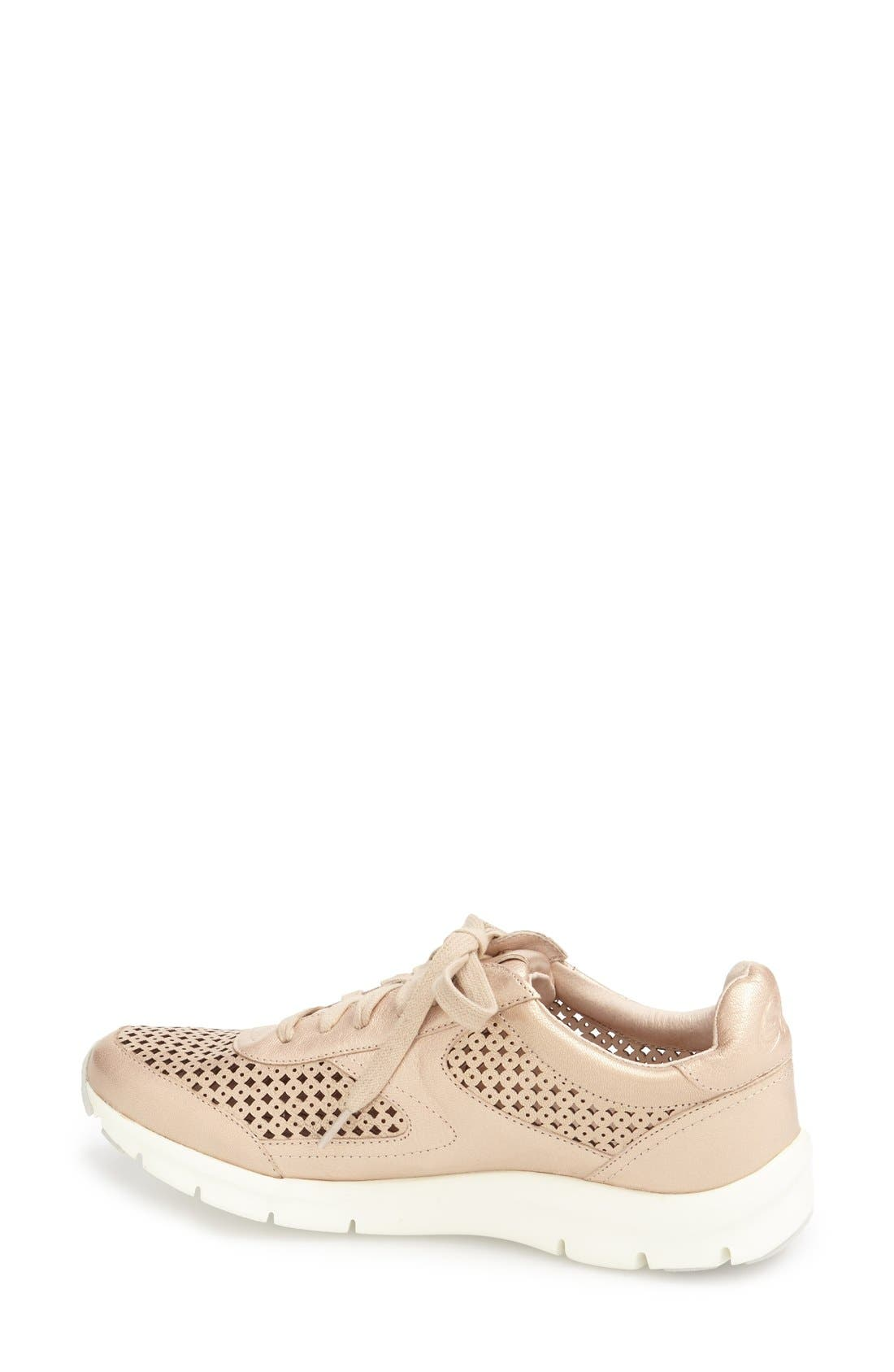 'Tammi' Perforated Leather Sneaker,                             Alternate thumbnail 2, color,                             Sand Leather