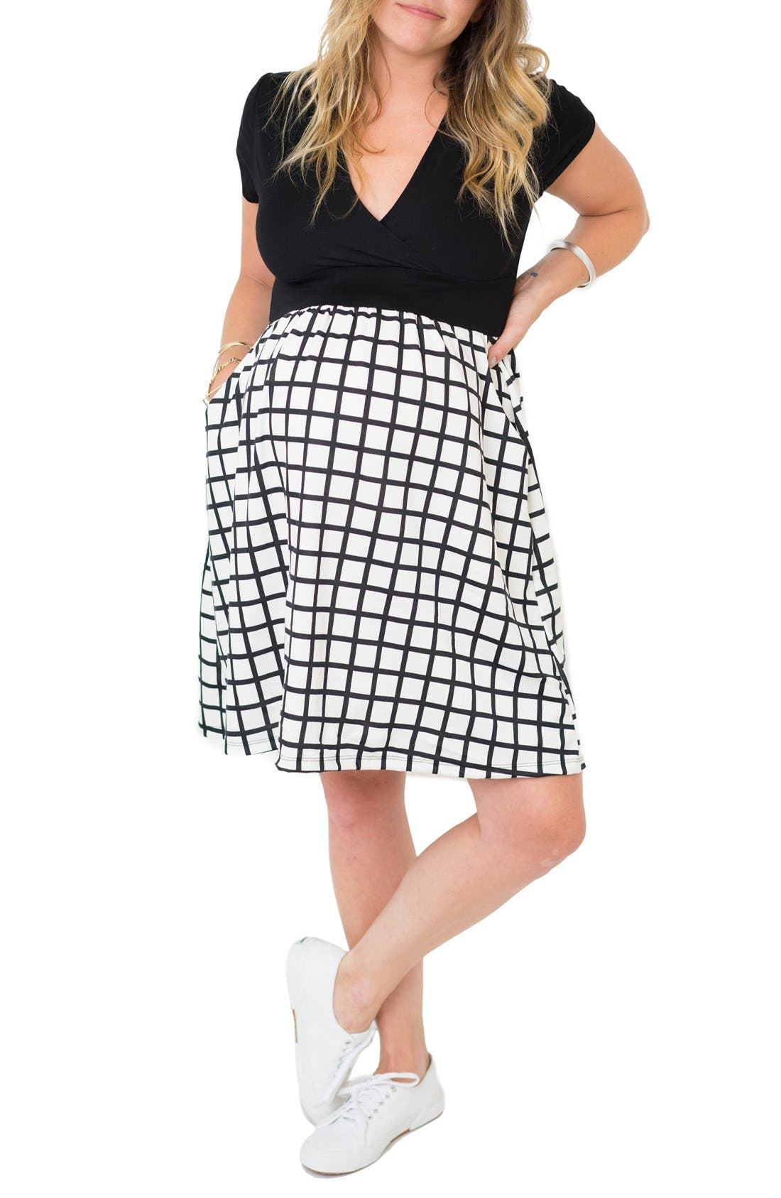 'Samantha' Surplice Maternity/Nursing Dress,                             Alternate thumbnail 2, color,                             Black Windowpane