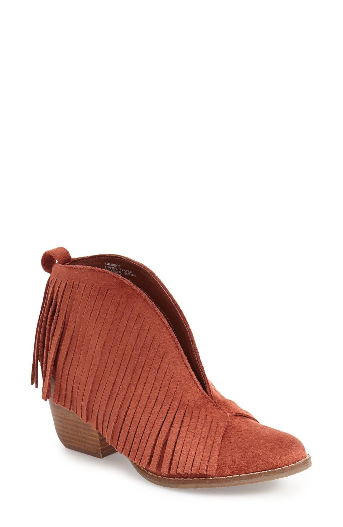 Matisse Lambert Fringe Bootie,                         Main,                         color, Rust Suede