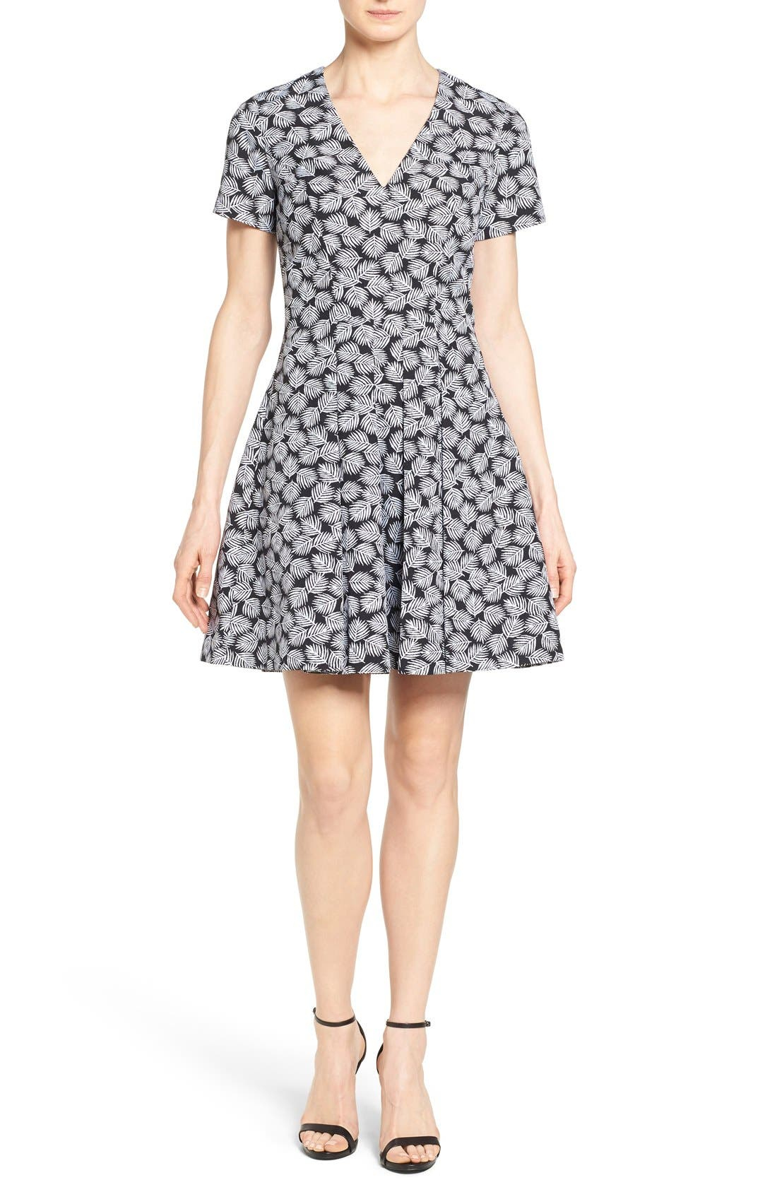 Main Image - MICHAEL Michael Kors 'Alicante' V-Neck Fit & Flare Dress