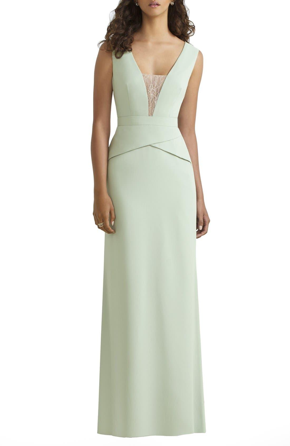 Main Image - Social Bridesmaids Lace Inset V-Neck Peplum Detail Gown