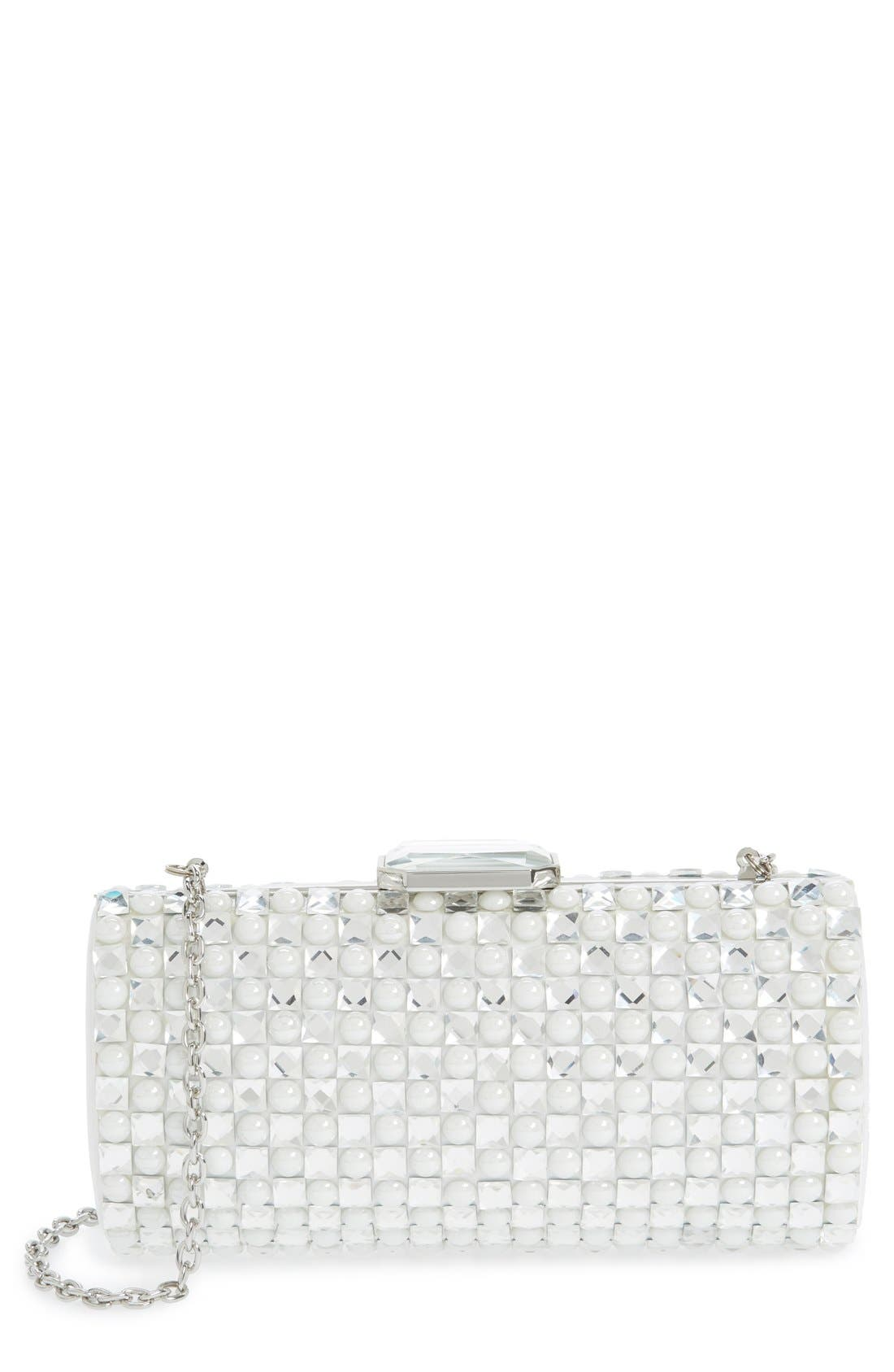 Crystal Clutch,                             Main thumbnail 1, color,                             Silver/White