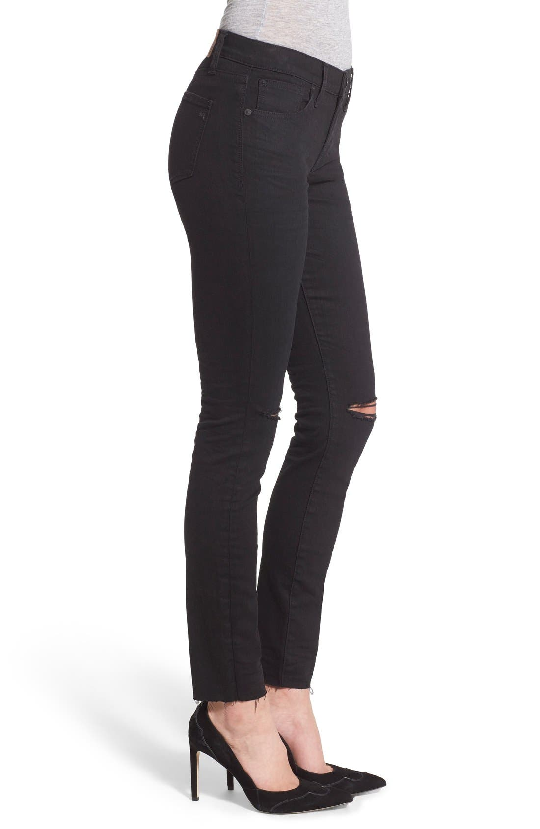 Alternate Image 3  - Madewell 'Skinny Skinny' Knee Rip Jeans (Trent Wash) (Long)