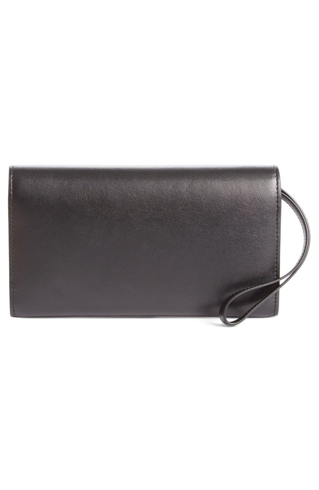 'Macaron' Studded Leather Continental Wallet,                             Alternate thumbnail 3, color,                             Black/ Gunmetal