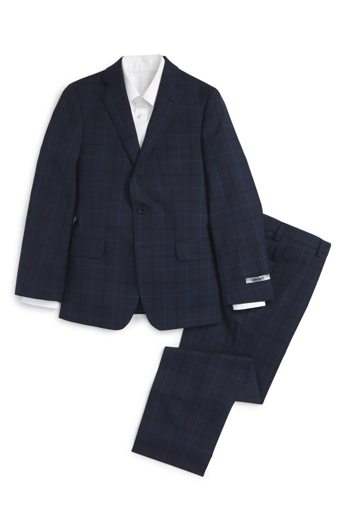 Alternate Image 1 Selected - DKNY Plaid Wool Suit (Big Boys)