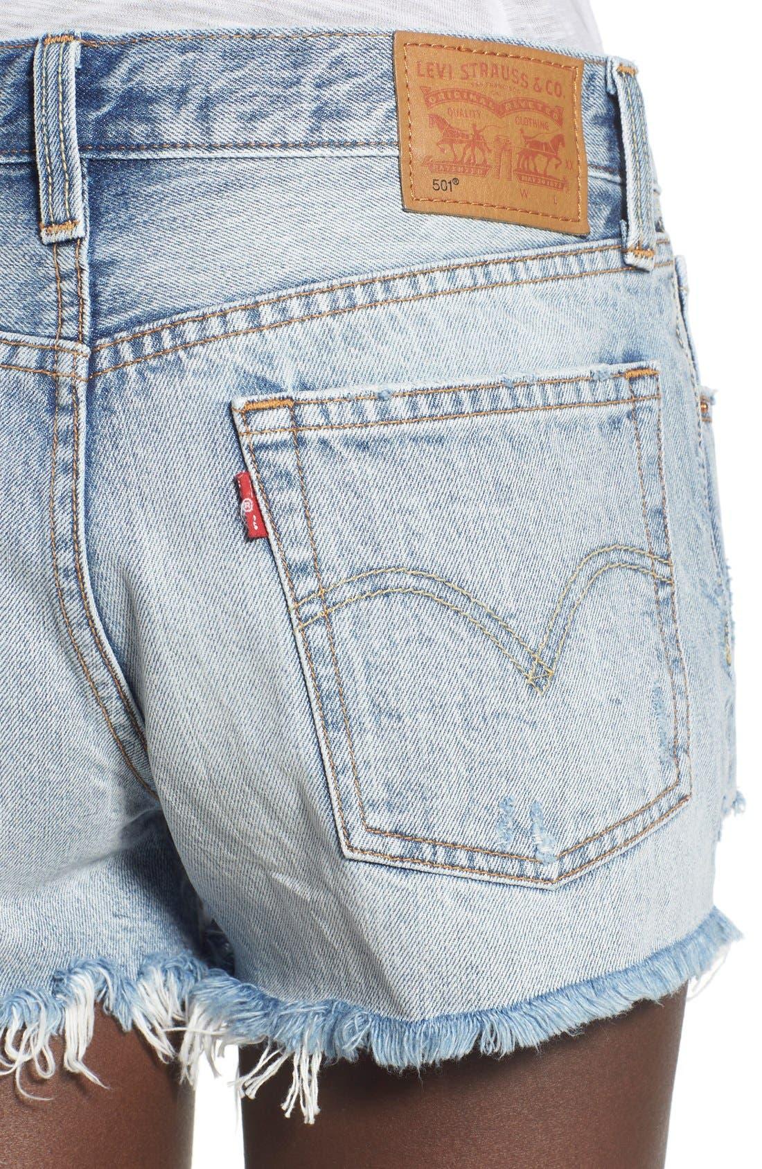 '501<sup>®</sup>' Cutoff Denim Shorts,                             Alternate thumbnail 4, color,                             Waveline