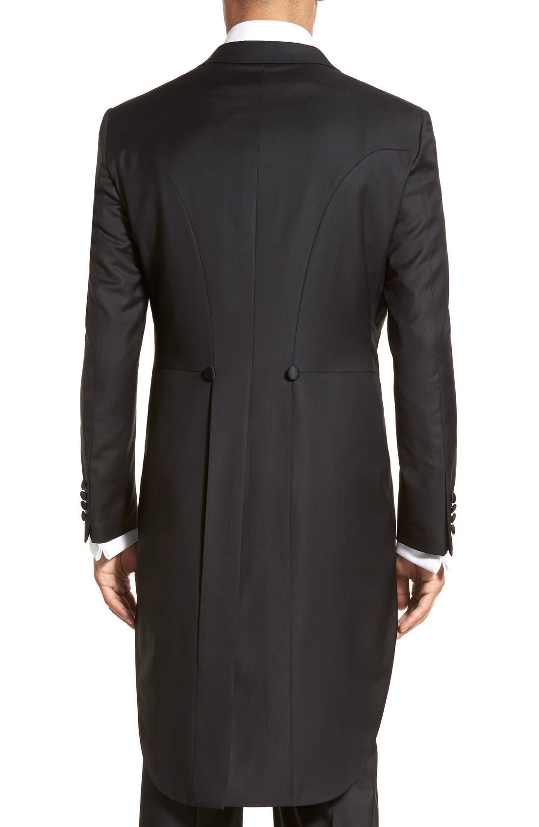 Classic B Fit Tasmanian Wool Tailcoat Tuxedo,                             Alternate thumbnail 6, color,                             Black