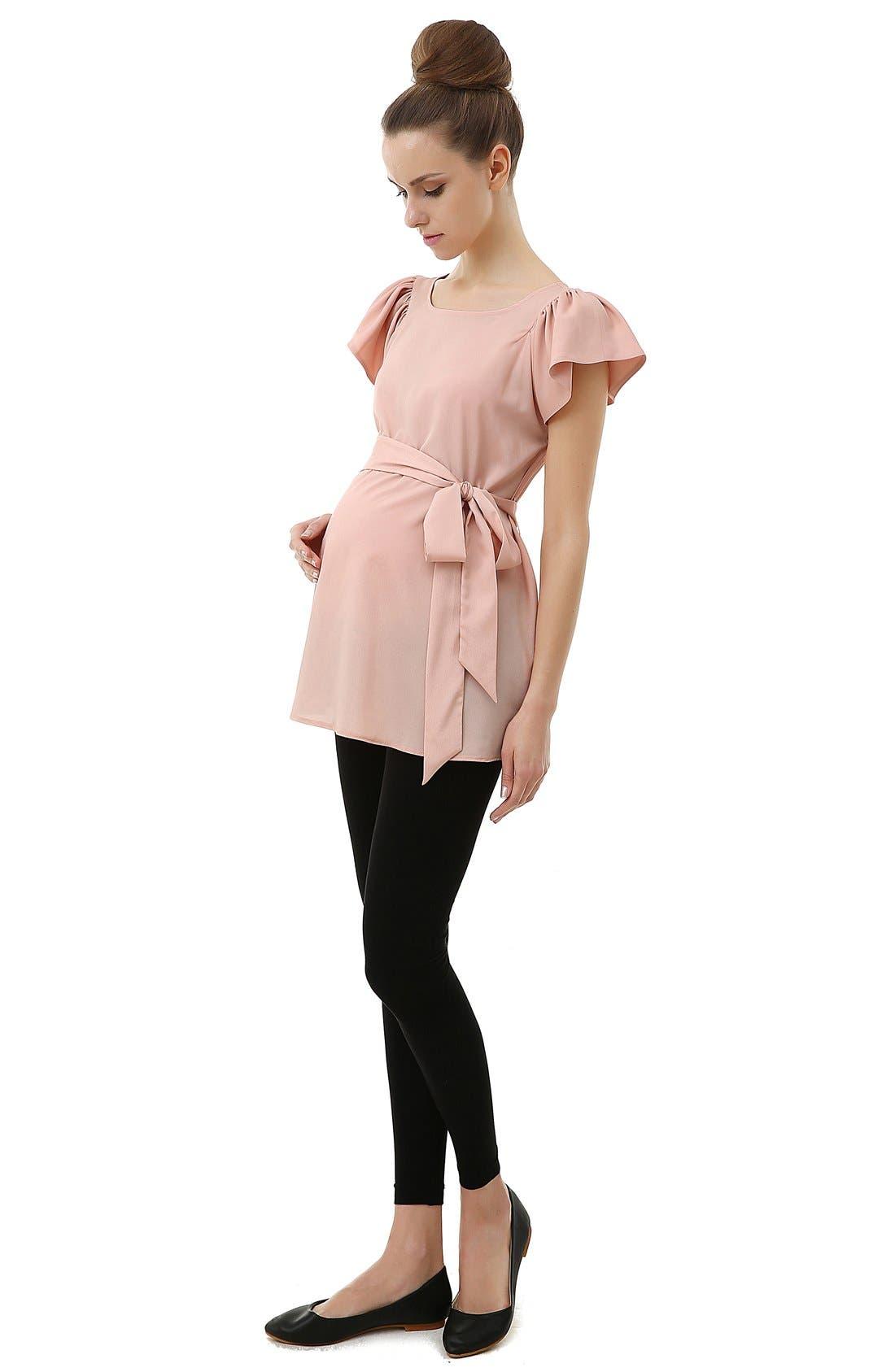 'Quinn' Flutter Sleeve Belted Maternity Top,                             Alternate thumbnail 3, color,                             Blush