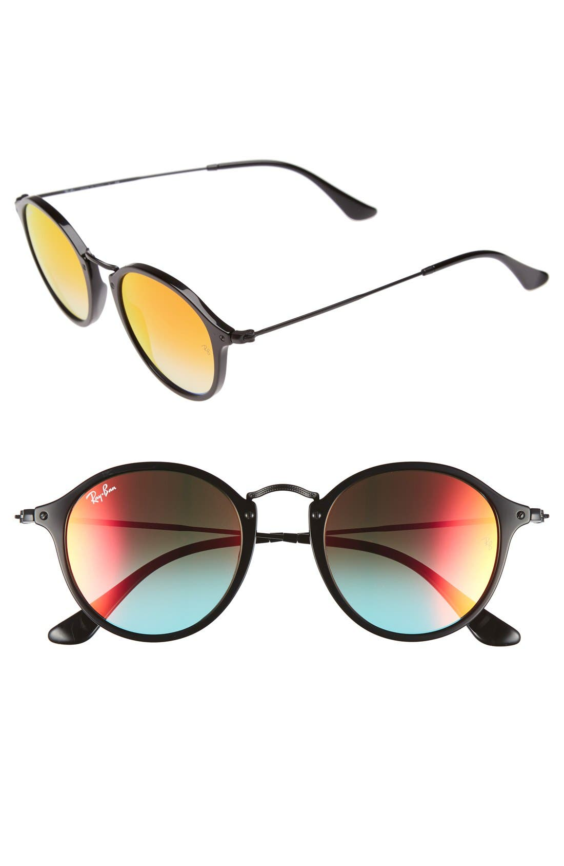 Icons 49mm Round Sunglasses,                         Main,                         color, Black/ Red