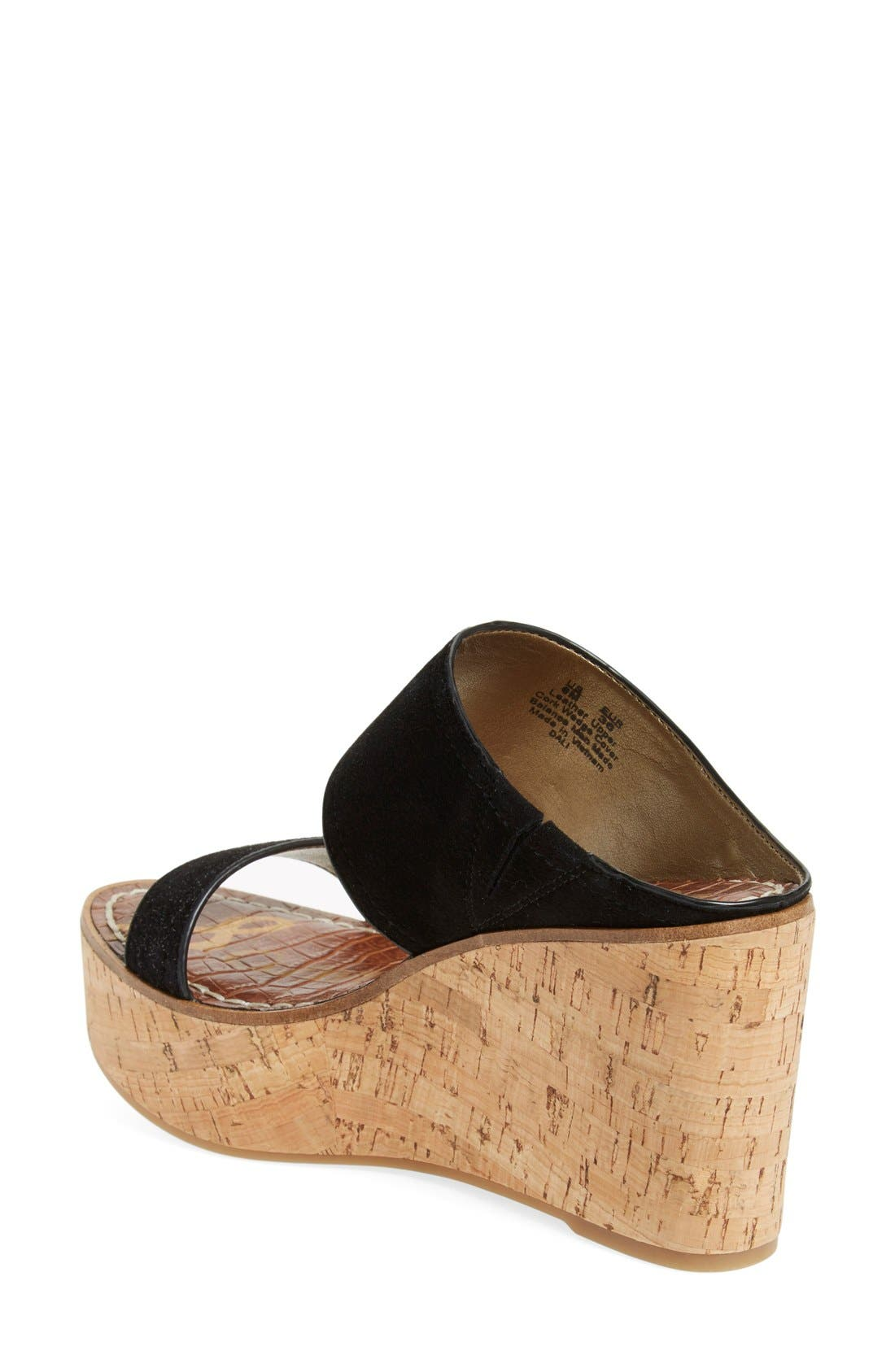 'Dali' Wedge Sandal,                             Alternate thumbnail 2, color,                             Black Suede