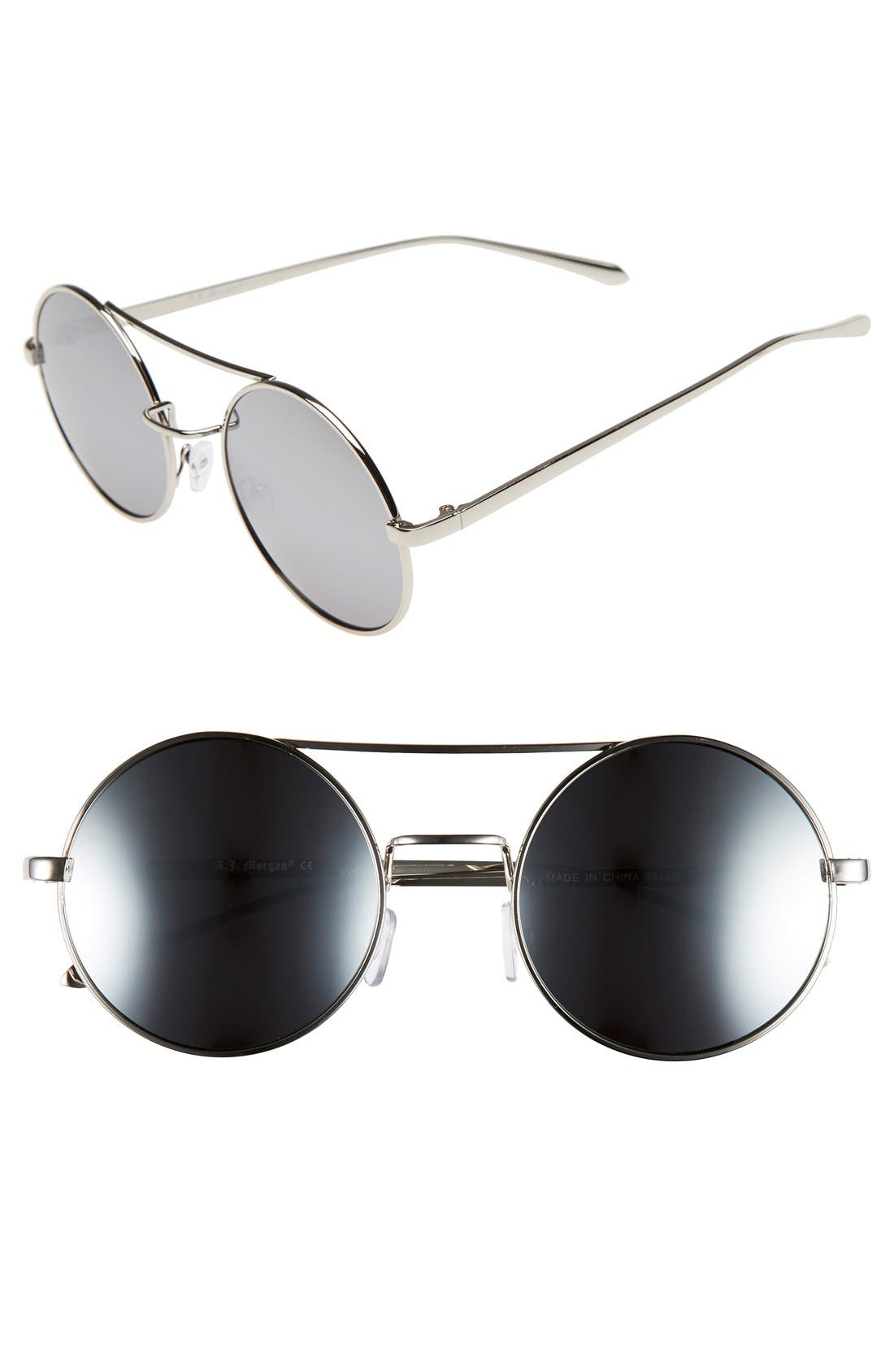 Main Image - A.J. Morgan 'Eclipse' 54mm Round Mirror Lens Sunglasses