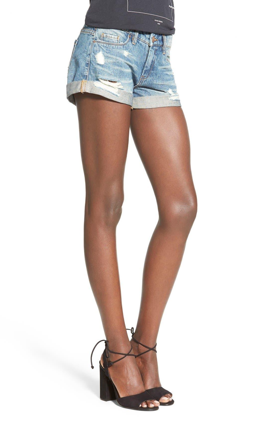 Alternate Image 2  - BLANKNYC Cuffed Distressed Denim Shorts (Low Key)