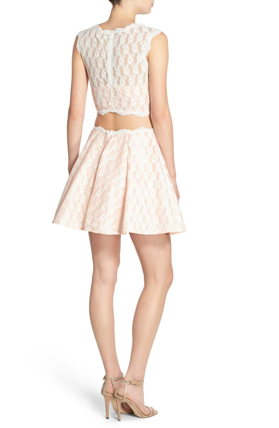 Alternate Image 2  - Way-In Lace Two-Piece Dress