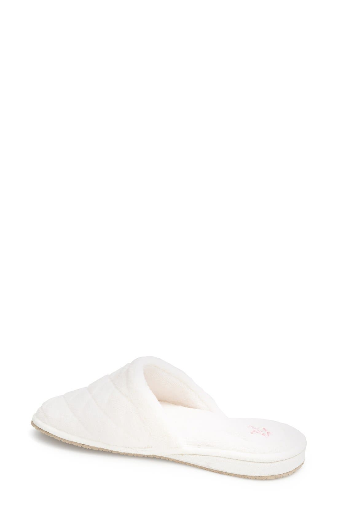 'Aria' Plush Slipper,                             Alternate thumbnail 2, color,                             White Polyester