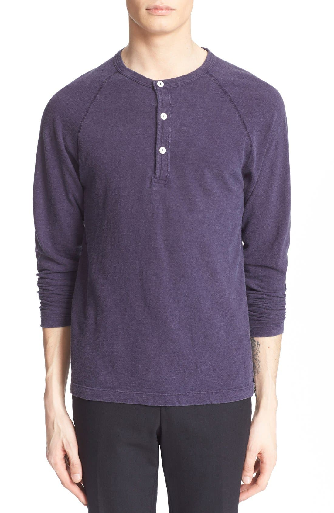 Long Sleeve Cotton Jersey Henley,                         Main,                         color, Navy