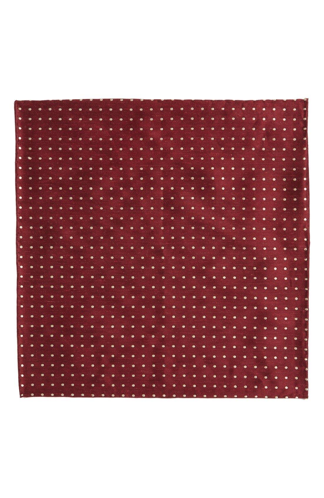 Dot Silk & Linen Pocket Square,                             Alternate thumbnail 2, color,                             Burgundy