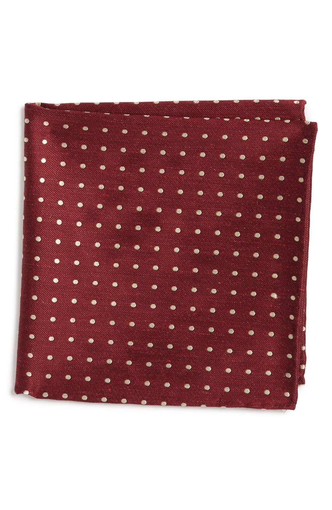 Dot Silk & Linen Pocket Square,                             Main thumbnail 1, color,                             Burgundy
