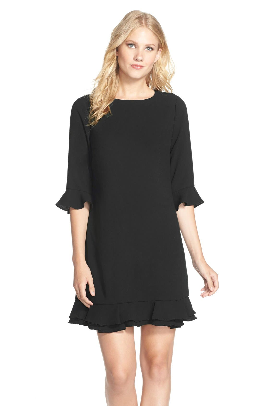 CeCe 'Kate' Ruffle Hem Shift Dress (Regular & Petite)
