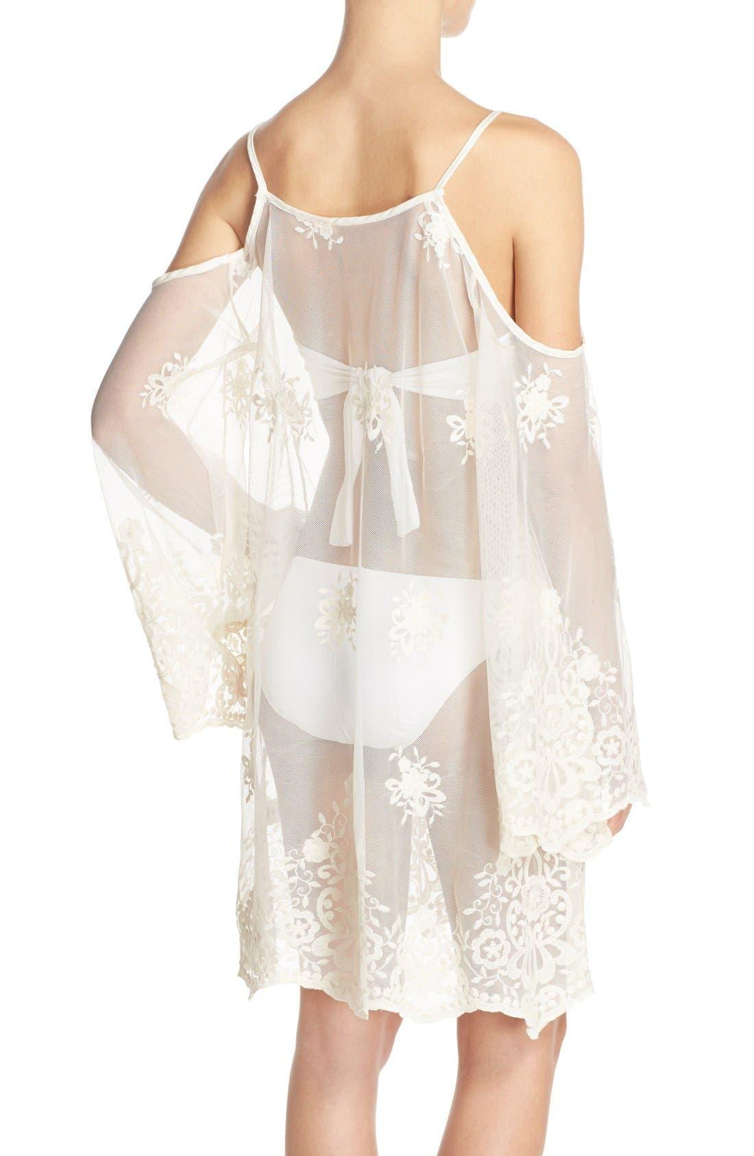 Alternate Image 2  - Elan Lace Cover-Up Cold Shoulder Dress
