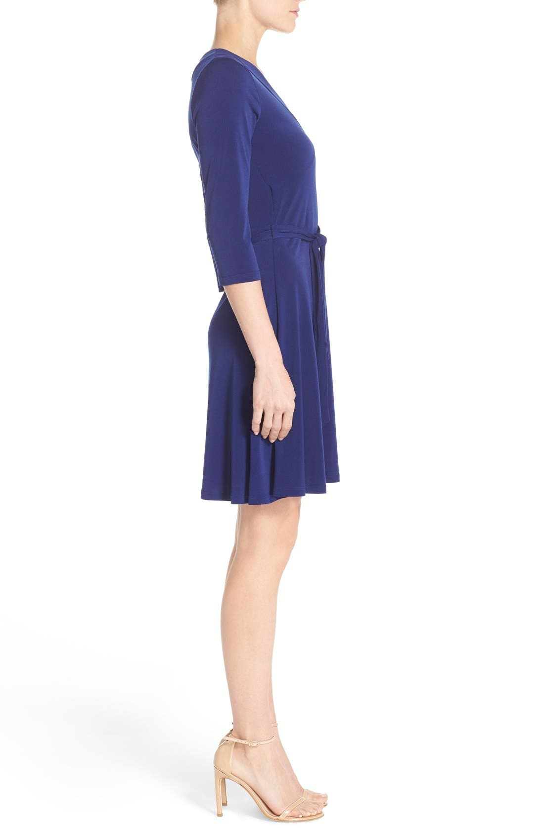 Jersey Faux Wrap Dress,                             Alternate thumbnail 3, color,                             Navy