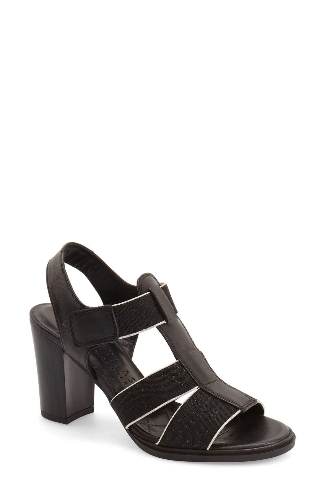 'Matchless' Sandal,                             Main thumbnail 1, color,                             Black Leather