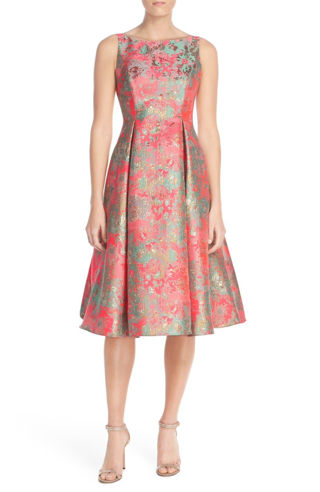 Alternate Image 4  - Adrianna Papell Metallic Jacquard Fit & Flare Dress