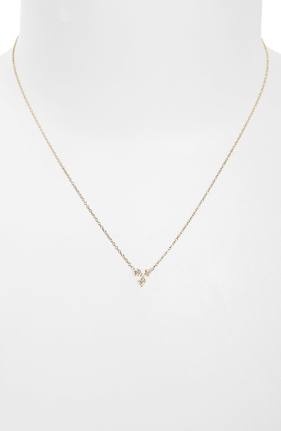 Alternate Image 2  - Zoë Chicco Three-Diamond Pendant Necklace