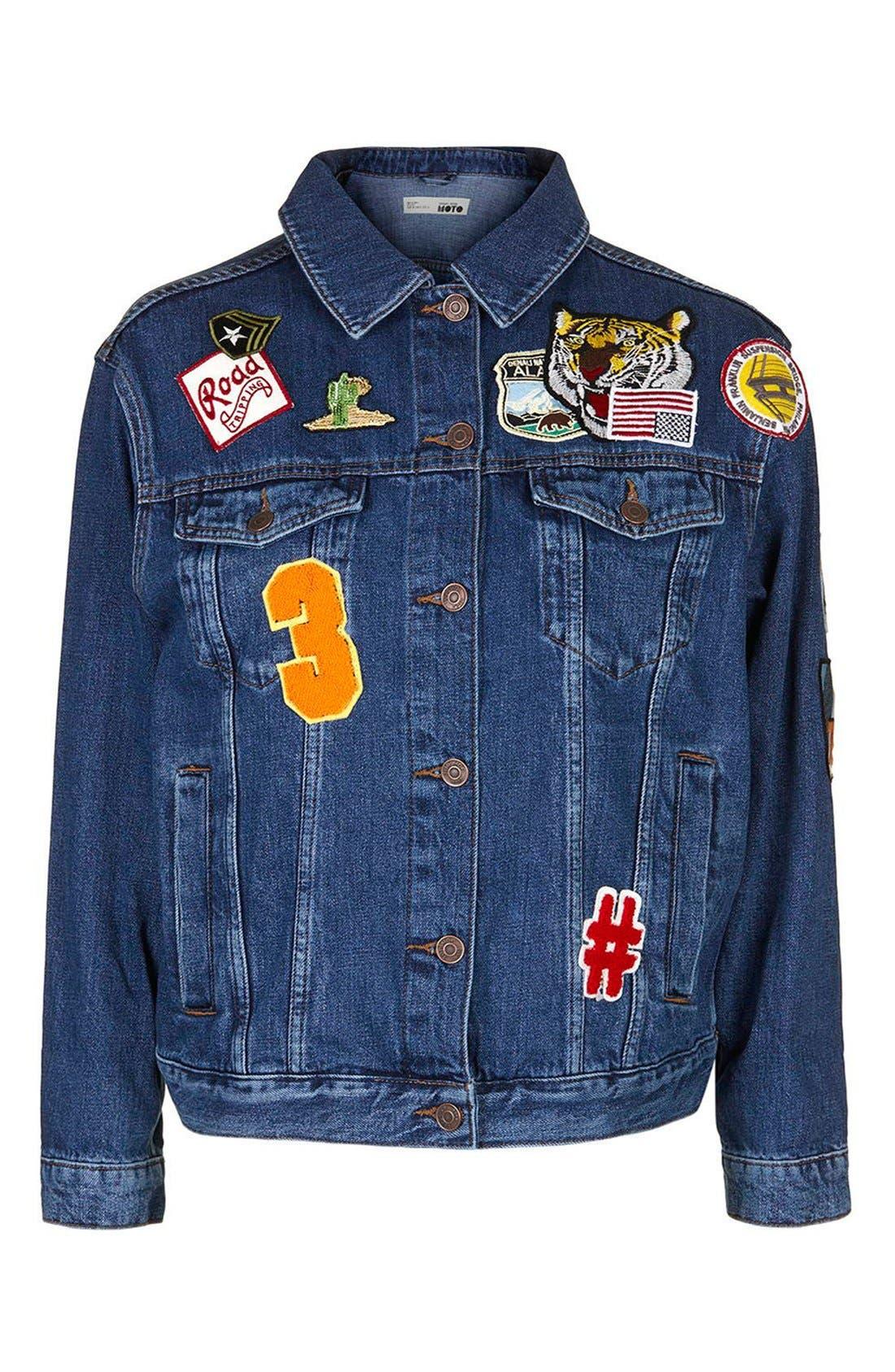 Alternate Image 4  - Topshop Patch Oversize Denim Jacket