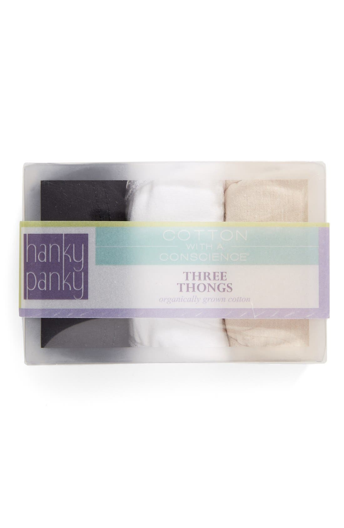 Alternate Image 1 Selected - Hanky Panky Original Rise Thong (3-Pack)