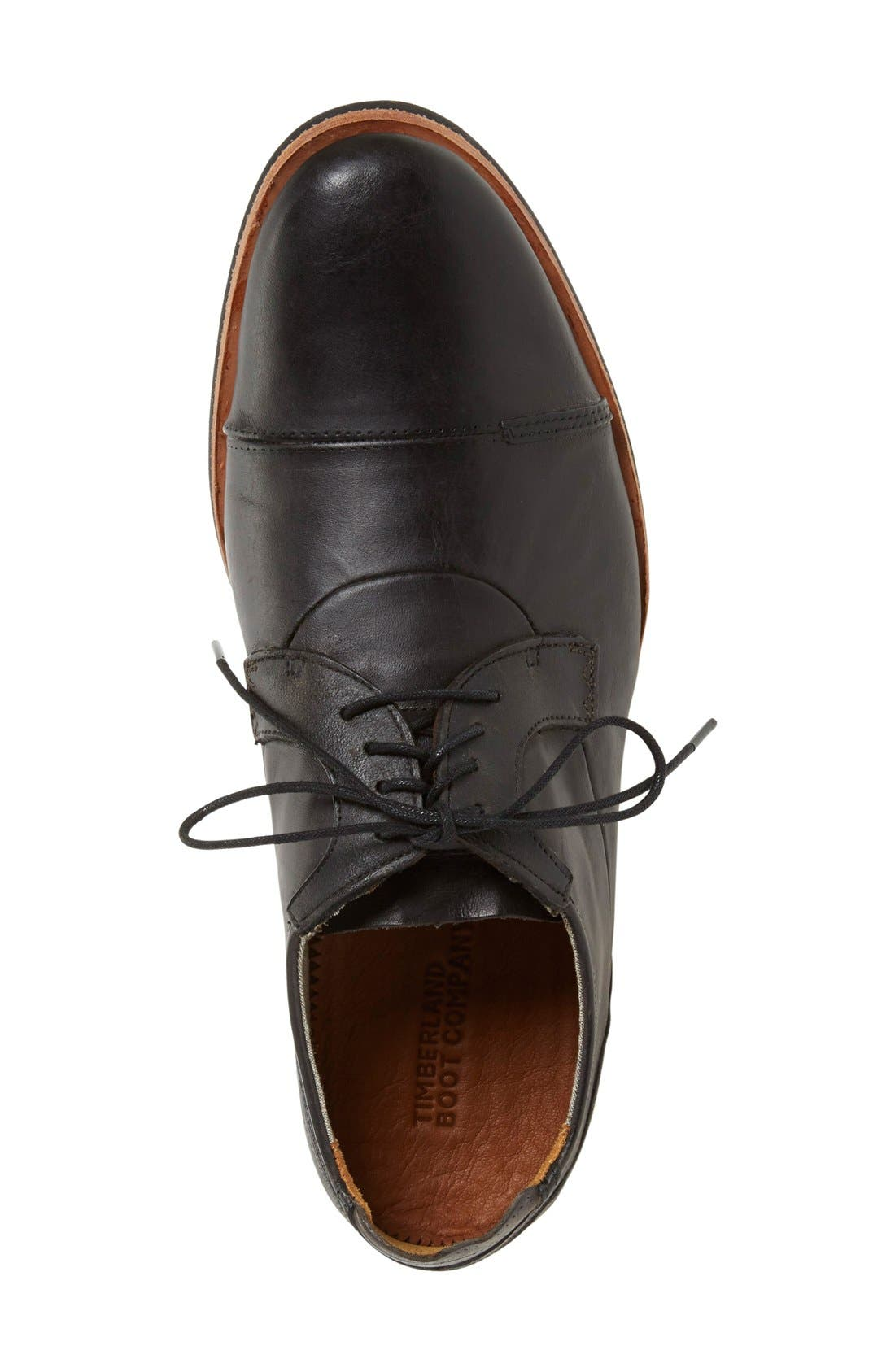 'Wodehouse Lost History' Cap Toe Oxford,                             Alternate thumbnail 3, color,                             Burnished Black Leather