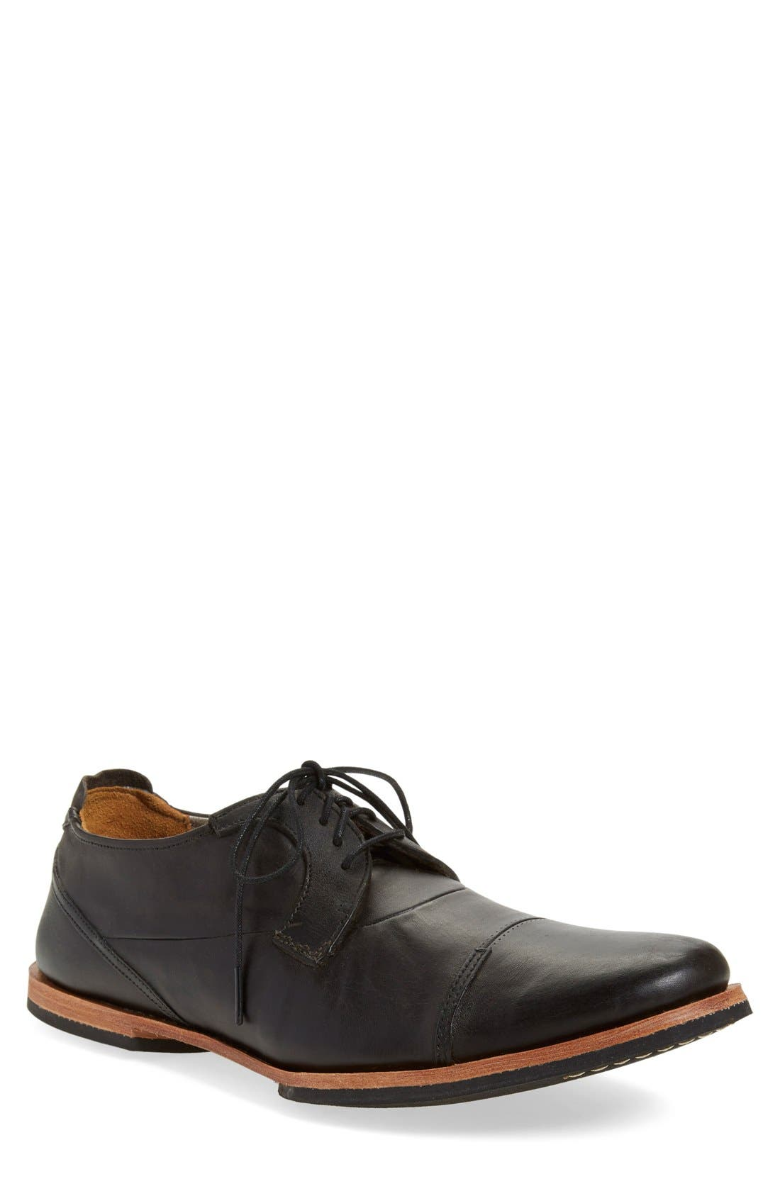 'Wodehouse Lost History' Cap Toe Oxford,                             Main thumbnail 1, color,                             Burnished Black Leather