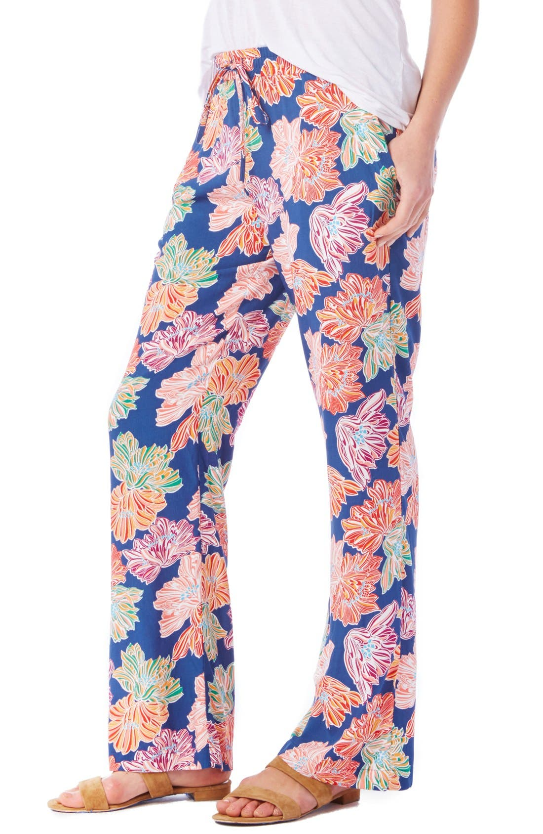 Alternate Image 3  - Michael Stars Floral Print Wide Leg Drawstring Pants