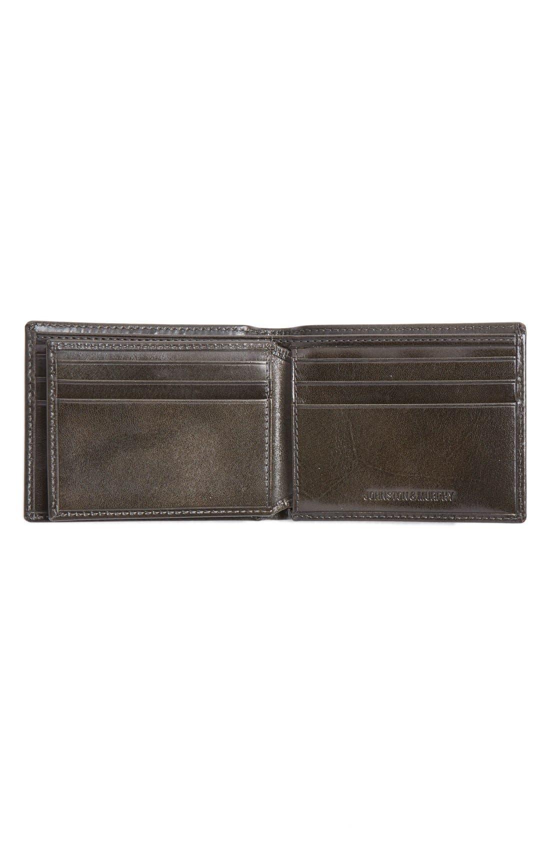 Flip Billfold Leather Wallet,                             Alternate thumbnail 3, color,                             Charcoal