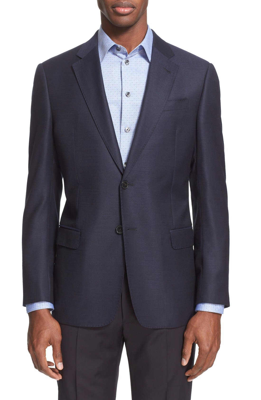 G-Line Trim Fit Wool Blazer,                             Main thumbnail 1, color,                             Navy