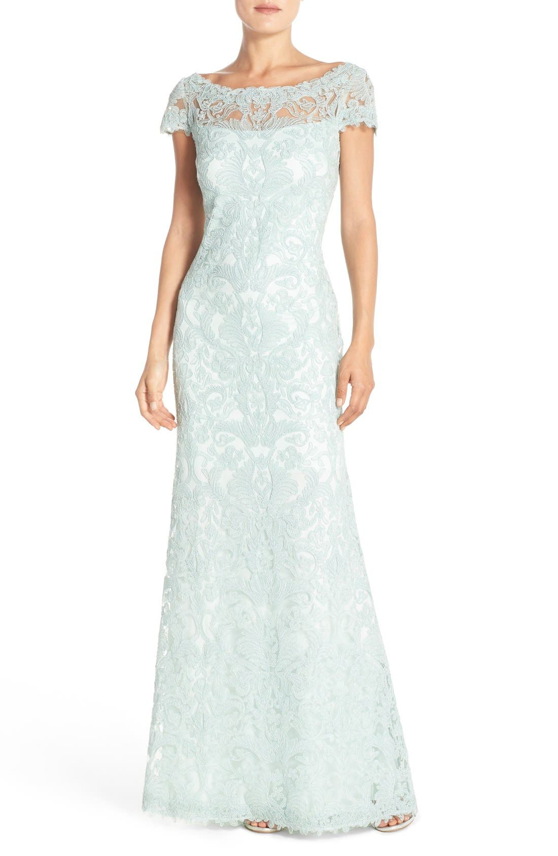 Illusion Yoke Gown,                         Main,                         color, Mint Green