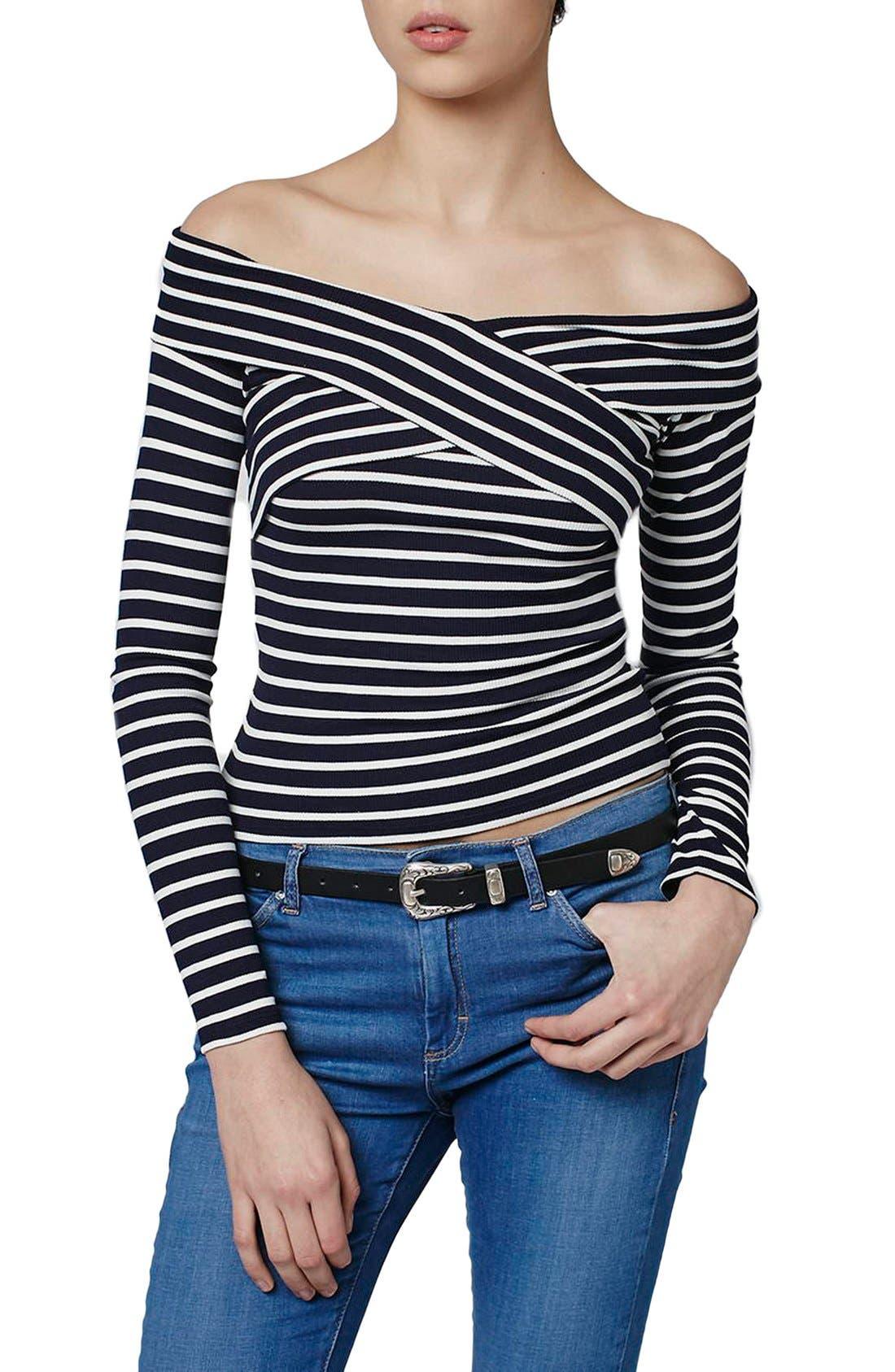 Main Image - Topshop Stripe Off the Shoulder Top (Regular & Petite)