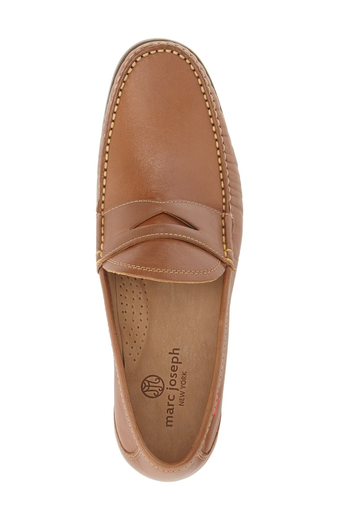 Penny Loafer,                             Alternate thumbnail 3, color,                             Brown Leather