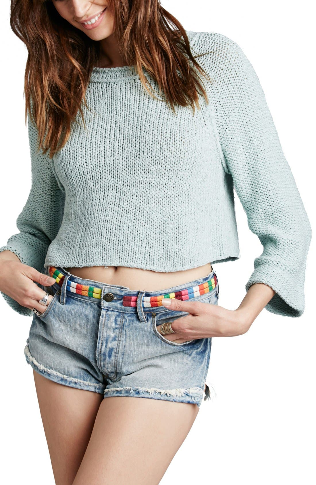 Main Image - Free People 'Endless Stories' Open Back Crop Sweater