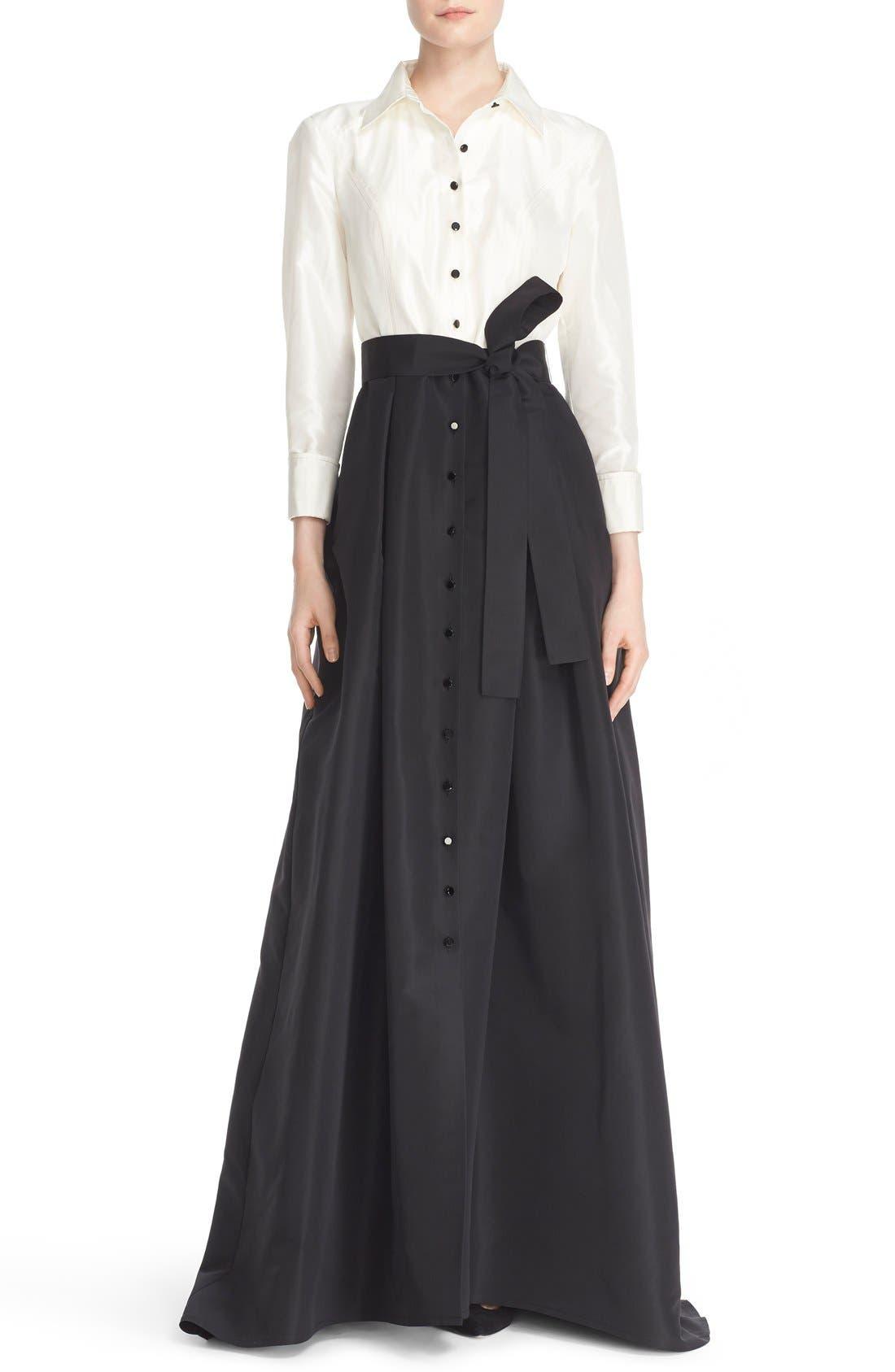 Main Image - Carolina Herrera Silk Taffeta Trench Gown