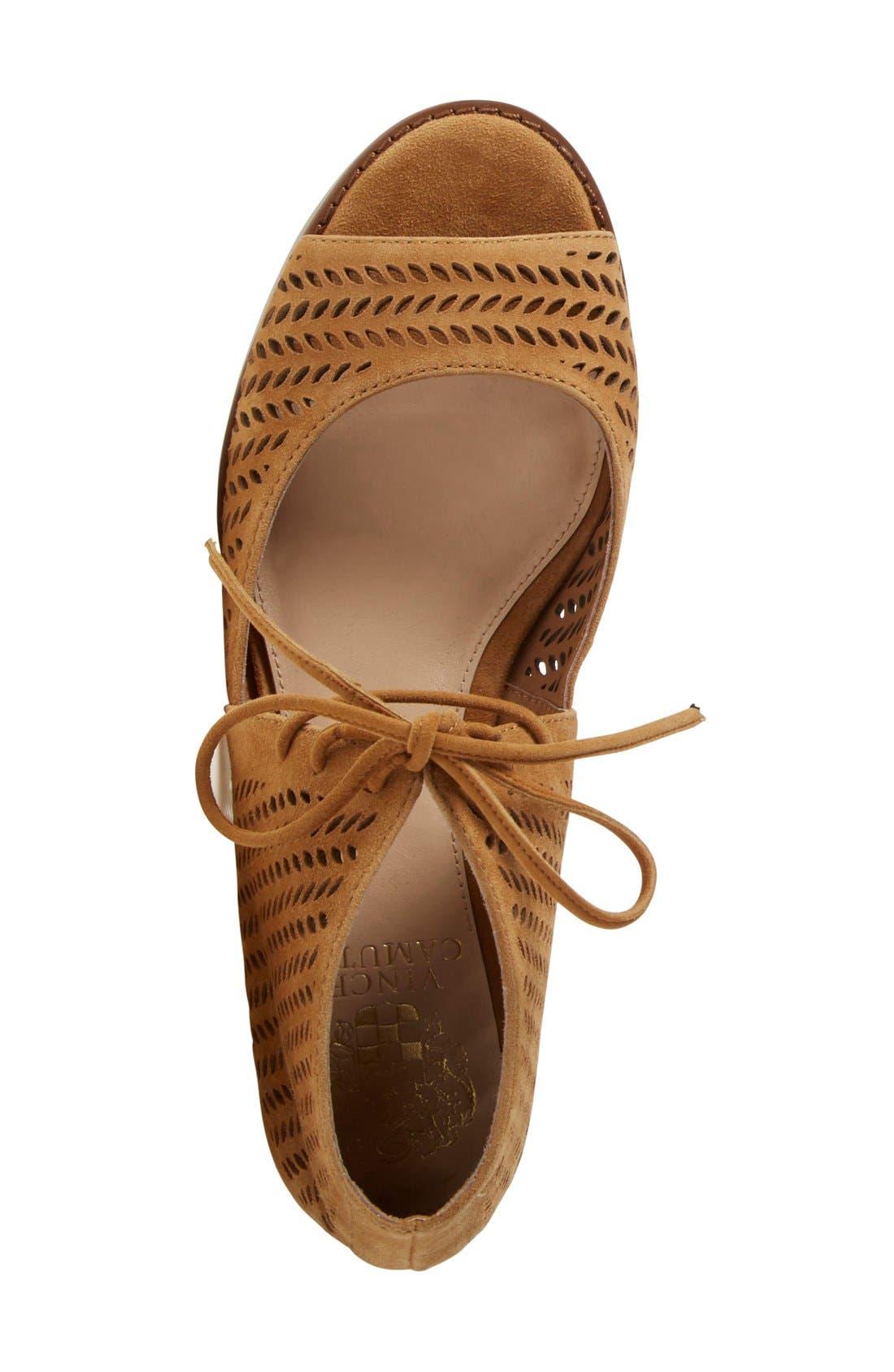 'Remme' Cutout Lace-Up Wedge Sandal,                             Alternate thumbnail 3, color,                             New Rust Suede