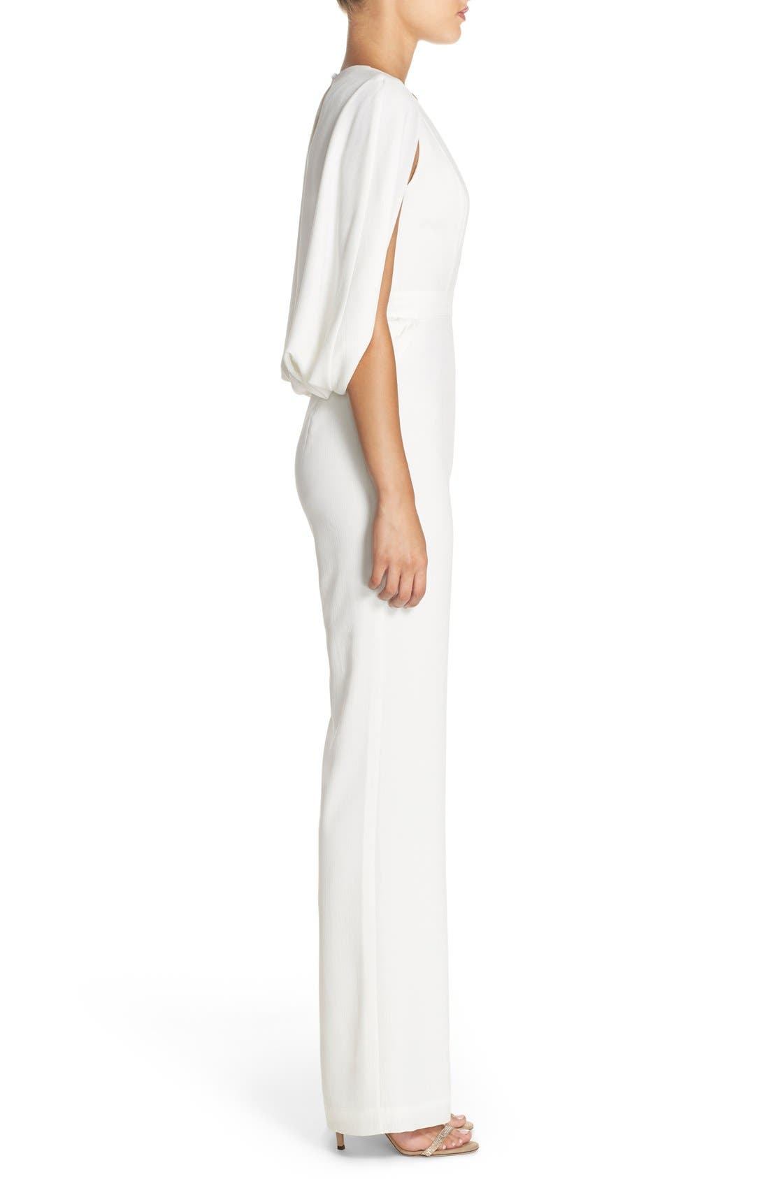 'Olympia' Cape Sleeve Jumpsuit,                             Alternate thumbnail 3, color,                             Ivory