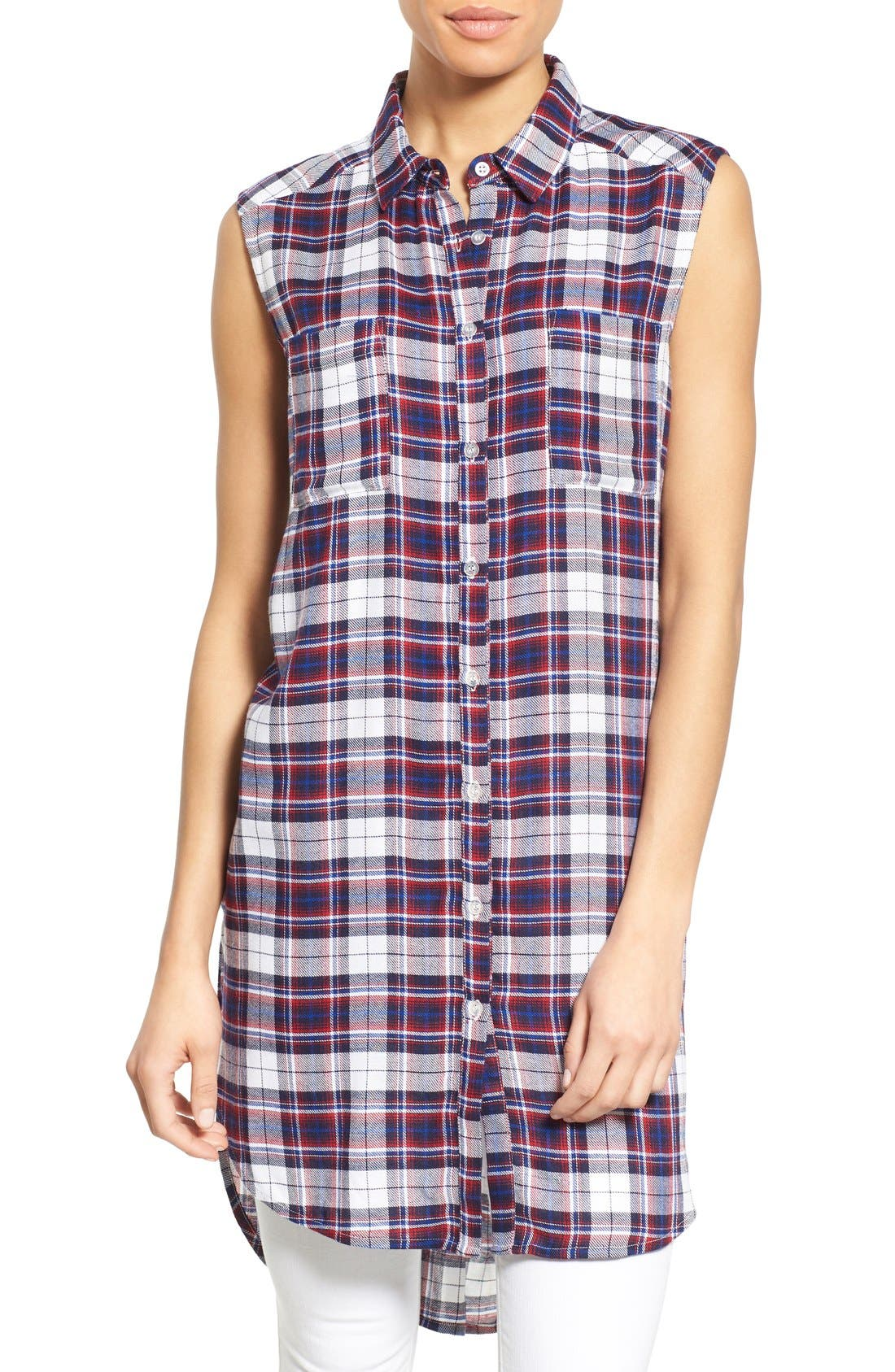 Alternate Image 1 Selected - Bobeau Plaid Two Pocket Sleeveless Tunic Shirt