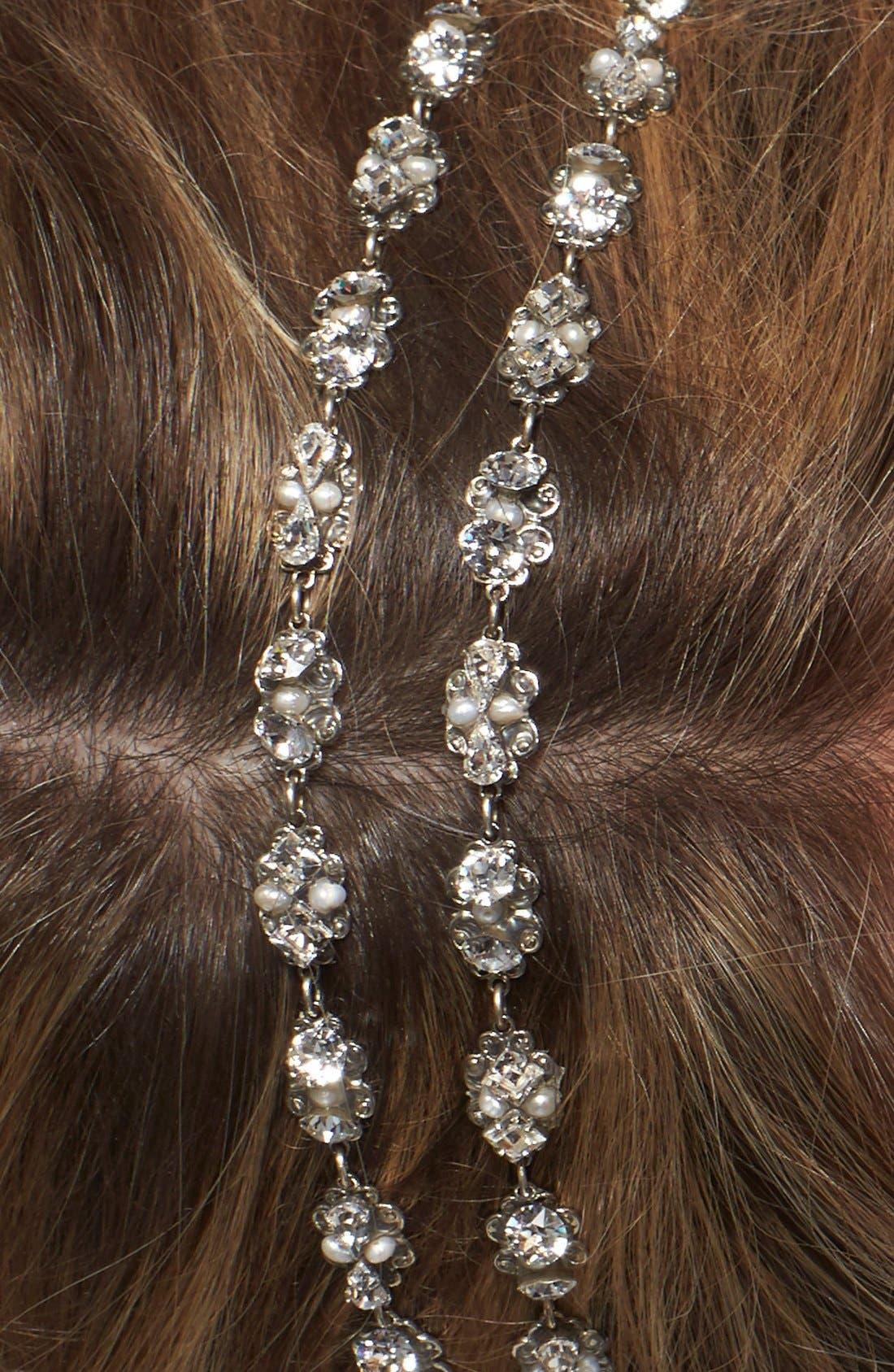 'Rose' Two Strand Filigree Hair Ribbon,                             Alternate thumbnail 5, color,                             Pale Ivory