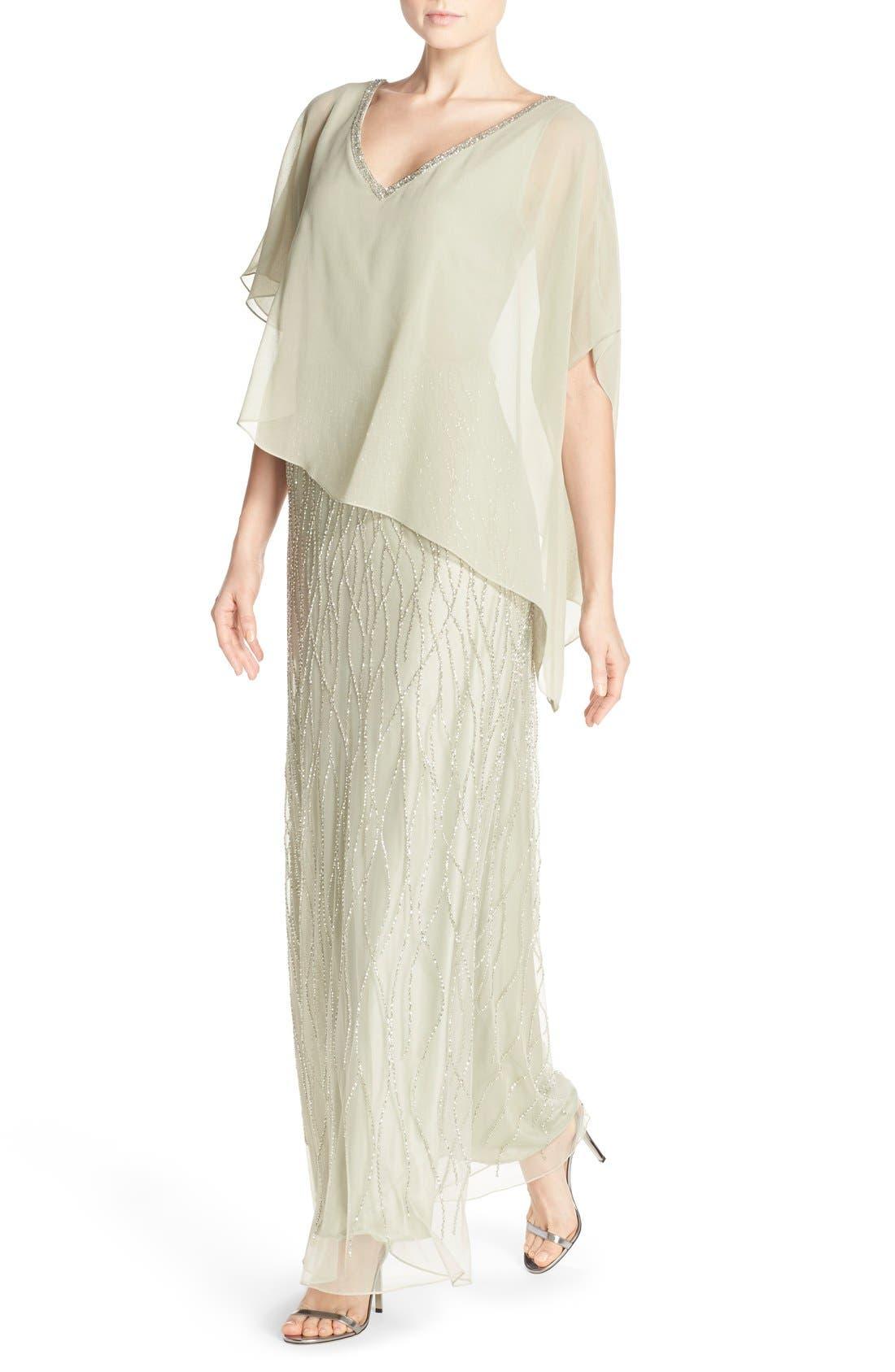 Alternate Image 4  - J Kara Chiffon Overlay Beaded Gown