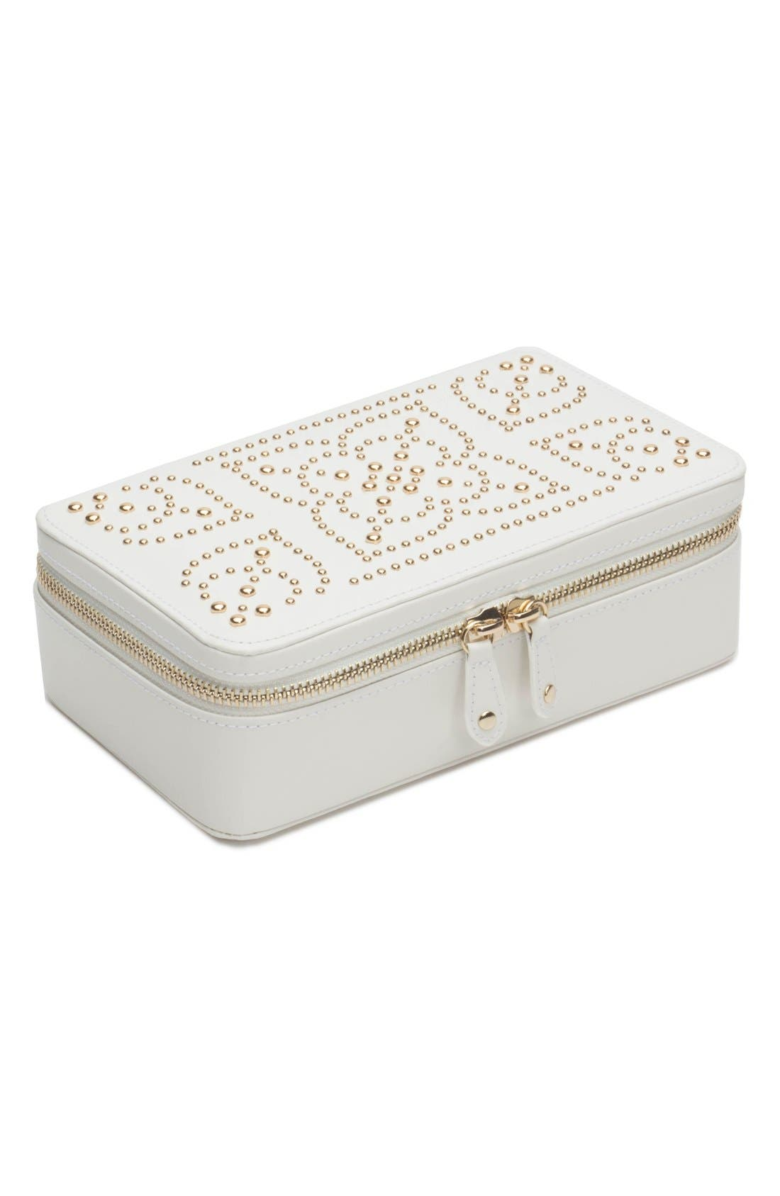 'Marrakesh' Zip Jewelry Case,                             Main thumbnail 1, color,                             Cream
