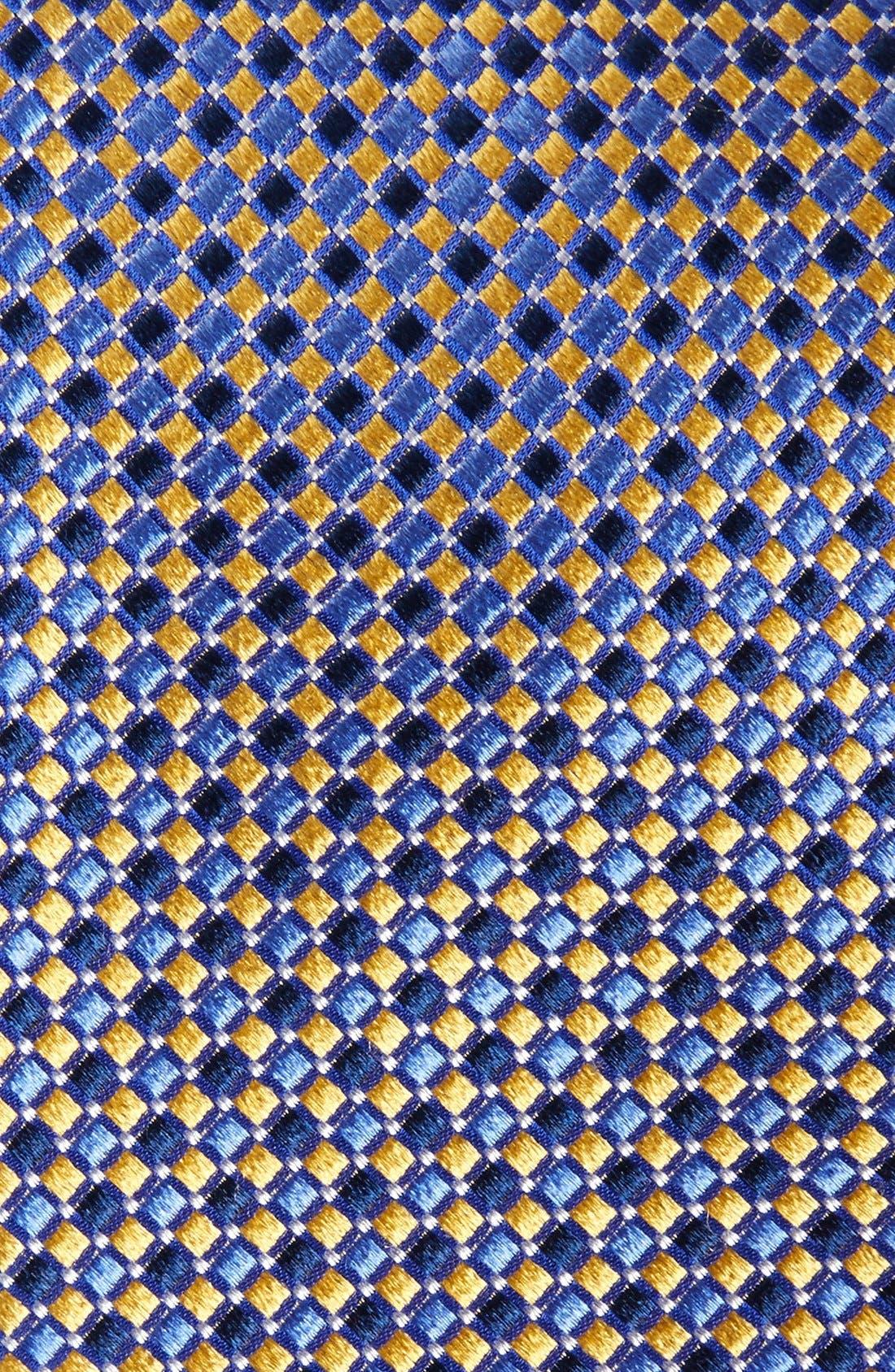 Geo Pattern Silk Tie,                             Alternate thumbnail 2, color,                             Yellow/ Navy