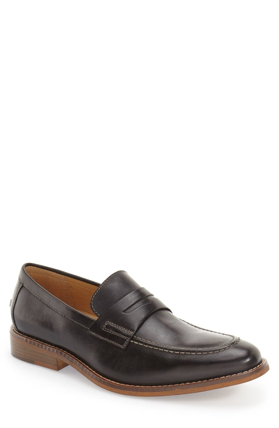 'Conner' Penny Loafer,                             Main thumbnail 1, color,                             Black